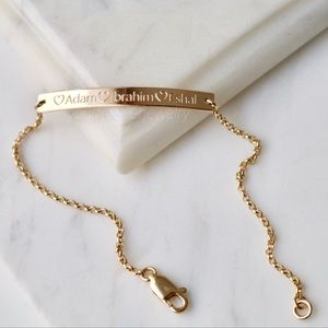 Jewelry - 14K Gold Filled Custom Engraved Bar Bracelet